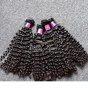 H Natural Black малазийского Curly Weave волос 4шт Extension Lot человеческих волос 100% Необработанные завитые малазийский волос Уток Бесплатная доставка