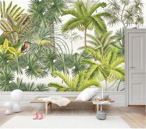 Toucan Tropical Palm Fond d'écran mural Mur Décor peint à la main Nature Rain Forest Banana feuilles de papier contact papier peint 3d