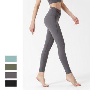LU Lifting Hip Übung Gamaschen Criss Cross Design Feste Farben Stretchy Yoga Pants Laufhose für Damen Kleidung 62lyb E19