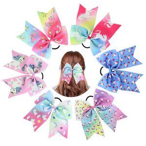 7 Zoll Einhorn Valentinstag Cheer Bow mit elastischen Haarbändern für Kid Girl Einhorn Pferdeschwanz Inhaber