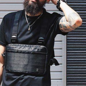 Gilet HipHop Rig poitrine Streetwear fonctionnel Sac pectorale pour hommes Sac à bandoulière réglable Sacs streetwear tactique Packs taille Kanye