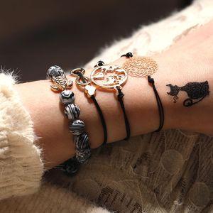 4pcs / set mappa del mondo tartaruga Amore tallone del braccialetto per le donne ragazza misura regolabile Infinite cuoio di fascino del cuore braccialetto di corda all-ingrosso