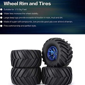 4 pezzi Wheel Rim pneumatici Set per 1/10 RC Monster Truck Traxxas HIMOTO HSP HPI telecomando RC Truggy Car