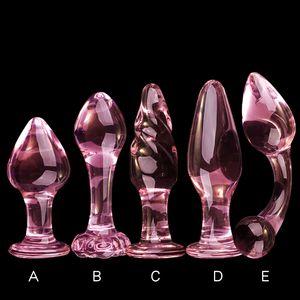 Crystal Glass Anal Plug Anal Beads Butt Plug Glass Dilatador Anal Balls Expander Small Glass Dildo Sex Toys for Women Men Y200422