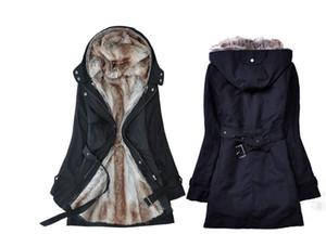 Faux kürk astarlı kadın kürk Hoodies kış sıcak uzun kürk İç ceket ceket pamuklu giysiler termal parkas