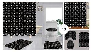 방수 다기능 커튼 높은 품질의 화장실 세트 3PCS 커튼 욕실 목욕 오지 그릇 샤워를 인쇄 사용자 정의 클래식 기하학적 패턴