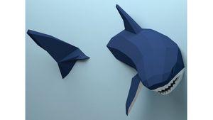Decoración tridimensional geométrica tridimensional de la pared del tiburón adornos para animales decoración creativa marea juego papel molde manual