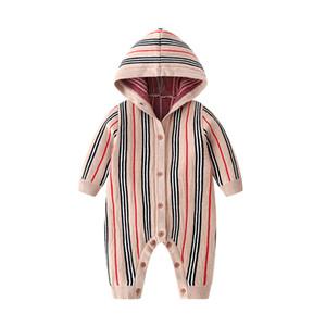 새로운 태어난 된 아기 옷 긴 소매 겨울 가을 봄 세트 3-6 월 장난 꾸러기 뜨개질 점프 슈트 격자 무늬 니트 코튼 의류 모자