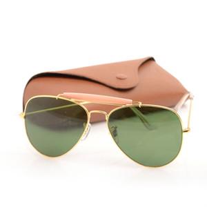 New Mens Sunglasses pilot Womans Sunglasses shooter glasses Brand Designer Sunglasses Glass Lens Unisex Sun glasses with Original cases boxs