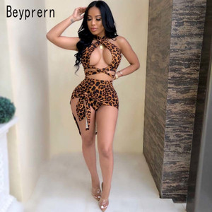 Beyprern Hot Womens Leopard Print Shorts Set With Cover-Ups Sexy Halter Neck Criss-Cross Bandage Beach Set Beach Wears Wholesale Y200701