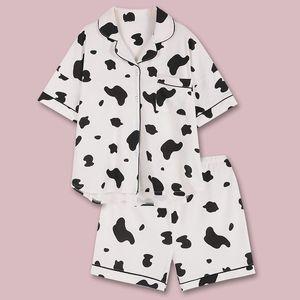 QWEEK Корова печати Пижамы для женщин ночнушки Pijamas Главной Одежды для женщин пижамы Femme 2020 Хлопок Nightgowns лета