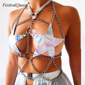 Goth Shiny Holographic Pentagram Harness Metal O Ring Link Chain Sexy Lingerie Garters Women Rave Festival Fashion Body Bondage