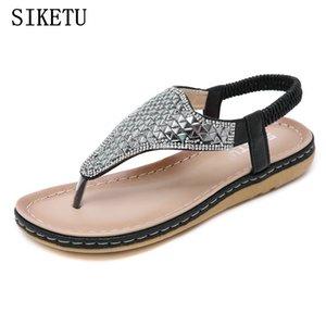 SIKETU nouvelles sandales femmes d'été de style Bohême chaussures de plage de vacances confortables faibles femmes plat talon sandales bascule