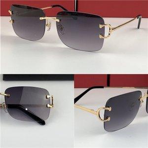 новые винтажные солнцезащитные очки мужчины Дизайн бескаркасные квадратные солнцезащитные очки UV400 объектив золотой светлый цвет объектива 0104