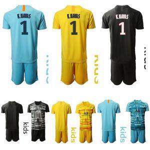 niños 2019 2020 Portero de fútbol Jersey -PSGS K. NAVAS # 1 kit 19 20 de futbol de fútbol para niños juegos de piezas de uniforme jersey de fútbol de los muchachos