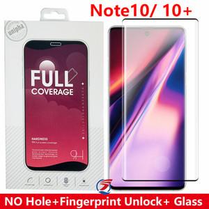 Nenhum buraco de impressões digitais desbloqueio 3D aresta curvada Cobertura completa Vidro temperado Protector for Samsung GALAXY Nota 10 NOTA 10 S10 S9 S8 Além disso Note9 note8