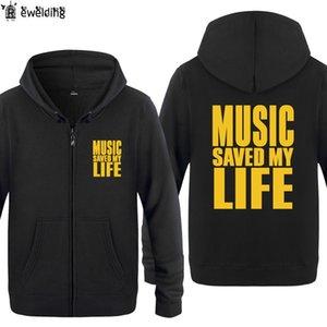 Куртка на молнии Толстовки Мужчины MUSIC MY LIFE СПАС Мужская толстовка Hip Hop флис с длинным рукавом Rock человека Толстовка Skate Tracksuit