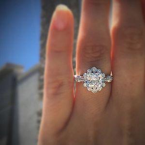 Square Diamond Princess Rings 18K White Gold Carved Finger Anillo De Rings Jewelry Gemstone Bizuteria for wedding Women love mom