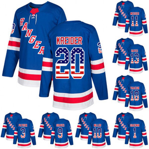 New York Rangers Leafs USA Bandera Jersey 20 Chris Kreider 13 Kevin Hayes 8 Cody McLeod 18 Marc Staal Hockey Jerseys