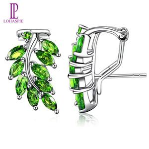 3.0Ct Doğal Krom Diyopsit Katı 925 Gümüş Yaprak Hoop Küpeler Güzel Takı Canlı Yeşil Taş Şık Nişan Yeni