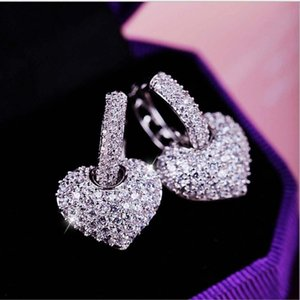 Mini Rhinestone Small Hoop Earrings Crystal Heart Shape Shiny Glitter Hoop Earrings For Women Fashion Jewelry Gift Minimalist
