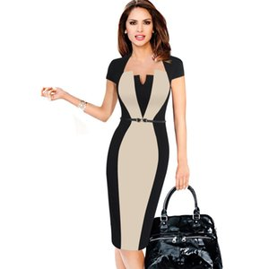 Summer Women Retro Contrast Patchwork Belt Wear to Work Business vestidos Office Bodycon Pencil Female One Piece Dress Suit