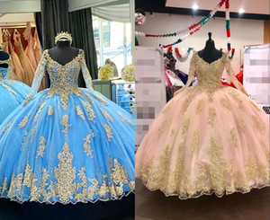 Stunning Gold Embriodery Blue Blush Ball Gown Quinceanera Prom Dresses Long Sleeves Keyhole Back Lace Sweet 15 masquerade evening gown
