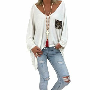 Негабаритные Женские футболки с длинным рукавом женские простые мешковатые свободные тройники осень повседневная туника с длинным рукавом футболки