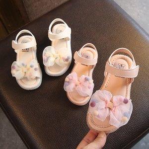 Girls Sandals Clear Lace Mesh 2020 Summer New Bow Princess Korean Children Baby Non-slip Beach Shoes with Hair Ball D03063 T200703