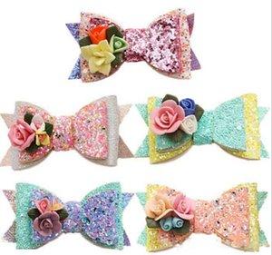 5 farben mädchen Haarschmuck Princess Sequined Stereo blumen haarspangen niedliche kinder mädchen mode bogen haarspangen
