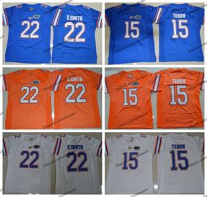Jahrgang E. Smith Florida Gators College-Fußball-Trikots 22 Emmitt Smith 15 Tim Tebow Blau Orange Genähte Fußball-Shirts M-XXXL