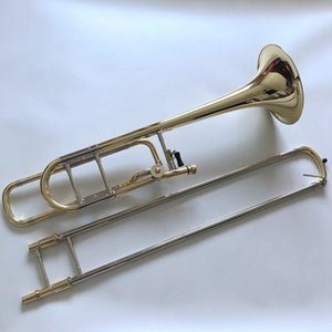 High Quality Bach B F Tenor Trombone Phosphor bronze lacquered gold Musical instrument with Accessories Free Shipping