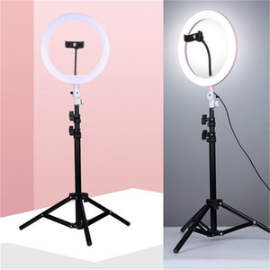 "10 ""/ 26 cm Selfie Ring Light with 1.1m Treppiede Stand e supporto per telefono Dimmable LED cerchio illuminazione per fotographia Vlogging Trucco Video"