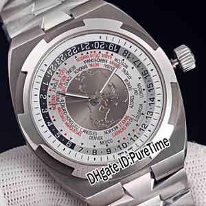 Migliore edizione Overseas World Time 7700V / 110A-B129 cassa in acciaio argento grigio quadrante bianco Cal.5100 Mens Mens Orologi automatici per tempo E05c3