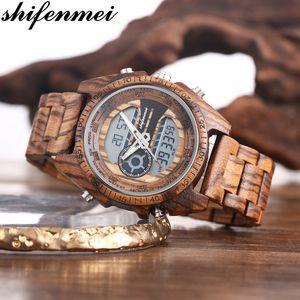 Shifenmei الخشب رجال ووتش العسكرية الرياضة ساعة اليد للرجال الكوارتز ساعات الأعلى العلامة التجارية الفاخرة ووتش خشبي ذكر Relogio ذكر للCX200805 2020
