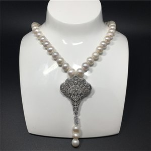 Natural 9-10mm white freshwater pearl micro inlay zircon accessories tassel necklace fashion jewelry