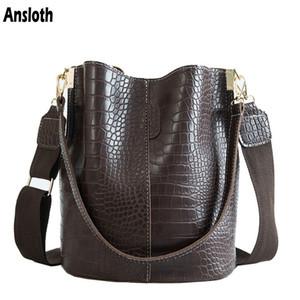Ansloth Fashion Patchwork Crossbody Bolsa Para Mujer Bolsos de Hombro Diseño de Cocodrilo Sólido Bolsas de Mujer de Lujo Pu Bolsa de cuero Hps405 J190614