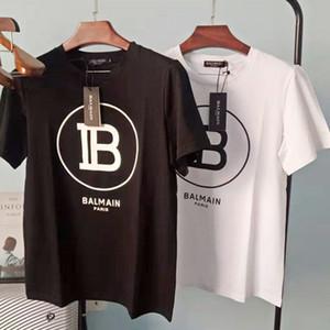 20SS Balmain Erkek T Shirt Moda Siyah Beyaz T Shirt Harf Baskı Kısa Kollu Tişörtler Boyut S-XXL
