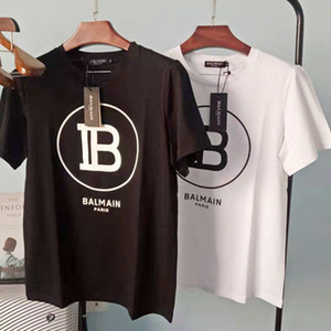 20SS Balmain Mens camiseta Moda Black White camisetas Letter Impressão manga curta Tees Tamanho S-XXL