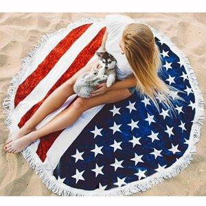 Wholesale-US Flag Pattern Round Beach Towel with Tassel Fringe 150cm Wall Hanging Beach Towel Throw Yoga Mat