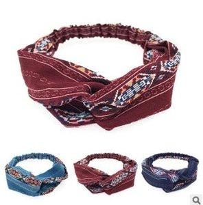 60pcs / lot bricolage simple multi tissus Rhombus Croix tête Bandes Elasticité Bandeaux ethniques Outils coiffants Accessoires HA1281