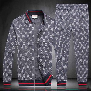 2020ss New design mens sportswear letters luxury casual suit + pants spring and autumn zipper suit sports running sportswear black gray y82