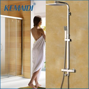 atacado recém-8 Inch termostática Shower Set torneira w / pulverizador manual Chrome Placa Chuvas Banheira Mixer Toque torneira