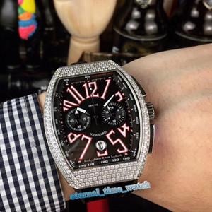 MEN'S COLLECTION V 45 CC DT NR BR (5N) Black Dial Diamond Silver Caso Japão VK Quartz Chronograph Movimento Mens Watch Couro Relógios Pulseira