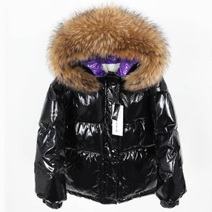 gola de pele Natural de Down Parka Inverno Down Jacket Mulheres Long Pato Branco Brasão Outwear Ultraleves com capuz fina Hat