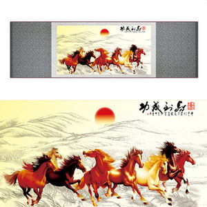 Top Quality Chinese Horse Be Painting Cavallo Art Painting Silk Scroll Art Painting Eight 19062701