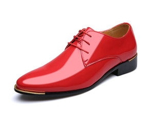 New Fashion Men's Patent Leather Dress Wedding Shoes Man Lace-Up Office Business Oxfords Casual Driving Flats Shoes