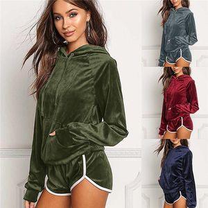 two piece set autumn winter hooded velvet velour suit shorts fitness tracksuit shining outfits 2 piece set women fz3568