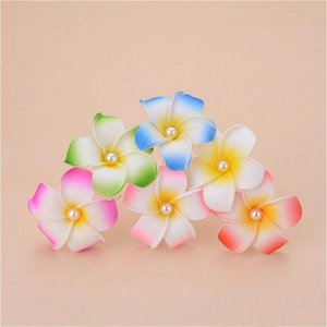 100pcs lot Bridal beach vacation Frangipani Flower Artificial flowers Wedding Party foam Hair clips jewelry Pins Hair accessories SIZE 7CM