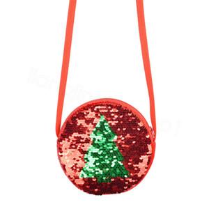 Noël Sacs enfants Paillettes Sac bandoulière filles enfants Coin Purse Bag Mini XMAS arbre Porte-monnaie Porte-cartes Zipper sac de rangement cadeaux FFA3392